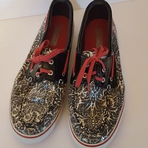 Sperry size 11 b & w  sequins pink string